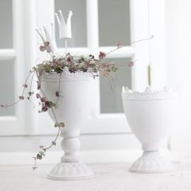 krukke Krone 18,5 cm - antik hvid , hemmetshjarta.dk