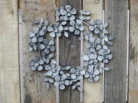 Krans m. blomster Ø35 cm antique zink , hemmetshjarta.dk