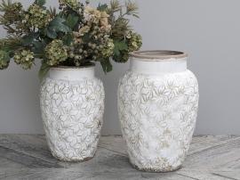 Colmar Vase m. blomster Keramik H36.5/Ø24,5 cm antique creme 1 st , hemmetshjarta.dk