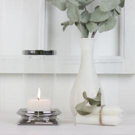 Lanterne med glas Lyx sølv 17 cm , hemmetshjarta.dk