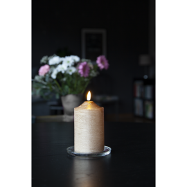 Batteridrevet Bloklys LED Flamme Guld 7,5x15cm , hemmetshjarta.dk