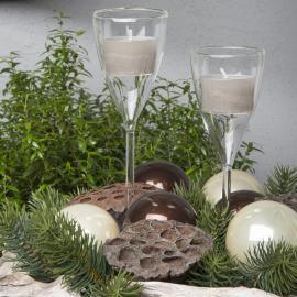 Lysestage Glas Champagne 19x5cm 2-pack , hemmetshjarta.dk