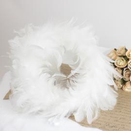 Fjerkrans 25 cm - hvit , hemmetshjarta.dk