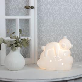Lampe porcelæn Bjørn 19,2 cm - hvid , hemmetshjarta.dk