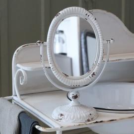 Bordspejl på fod - antik hvid , hemmetshjarta.dk