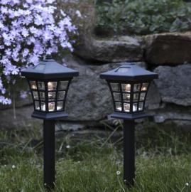 Solcellelampe stolpe 2-pack , hemmetshjarta.dk