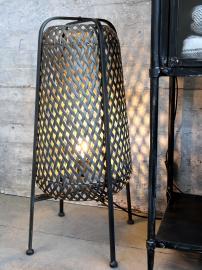 Lampe i flet H67/Ø30 cm antique kul , hemmetshjarta.dk