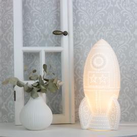 Lampa porcelæn Sovande katt porslin 24,5 cm - vit , hemmetshjarta.dk