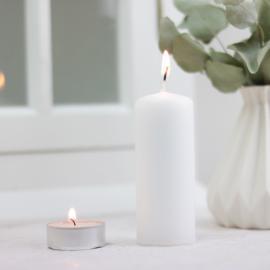 Høye fyrfadslys 10x4 cm - hvid , hemmetshjarta.dk
