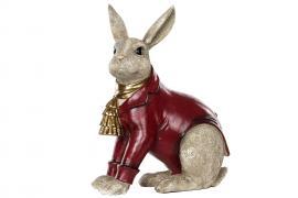 Kanin klædt rød Poly 29x16x40cm , hemmetshjarta.dk