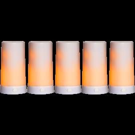 Batteridrevet Bloklys LED Diner Hvid 5st Extra 13cm , hemmetshjarta.dk