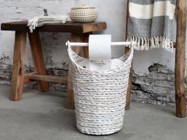 Kurv m. toiletpapirholder H40/Ø30 cm antique hvid , hemmetshjarta.dk