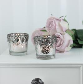 Fyrfadsstage m. sølv dekor høj , hemmetshjarta.dk