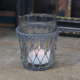 Gammal Fransk glas med fil de fer holder H9 / Ø8 cm antik zink , hemmetshjarta.dk