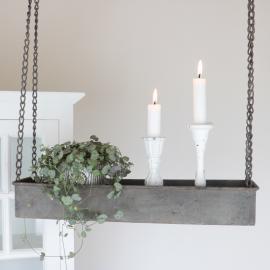 Hengende hylde med kant - antikgrå , hemmetshjarta.dk
