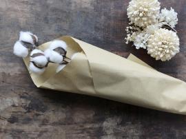 Uge 40 Fleur tørrede Bomulds Blomster L60 cm creme , hemmetshjarta.dk