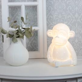 Lampe porcelæn Abe 21 cm - hvid , hemmetshjarta.dk
