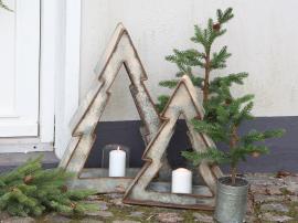Juletræ m. lysholder H43/L38/B10 cm antique zink , hemmetshjarta.dk