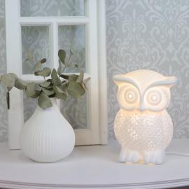 Lampe porcelæn ugle 20 cm - hvid , hemmetshjarta.dk