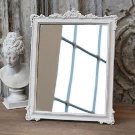 Spejl med rosenkant H32 / L25 / B2 cm antik hvid , hemmetshjarta.dk