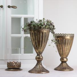 krukke høy med Blondekant 27 cm - guld brun , hemmetshjarta.dk