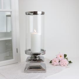 Lanterne med glas Lyx sølv 44 cm , hemmetshjarta.dk