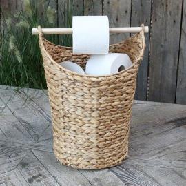 Kurv med toiletpapirholder H40 / Ø30 cm antik natur , hemmetshjarta.dk