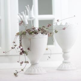krukke Krone 15 cm - antik hvid , hemmetshjarta.dk