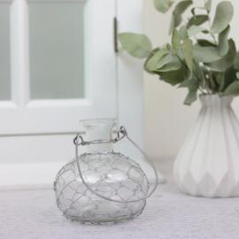 Vase/Lysestage Romance med net 9,5 cm , hemmetshjarta.dk