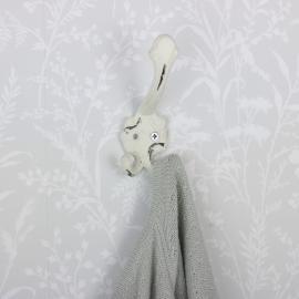 Vægkrok 13,5 cm - antik hvid , hemmetshjarta.dk