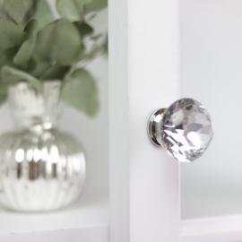 Knob Diamant med flad top 5x3 cm - glas , hemmetshjarta.dk