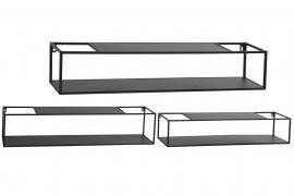 Væghylder 3-pack 75,85,95 cm - sort , hemmetshjarta.dk
