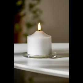Batteridrevet Bloklys LED Flamme Hvid 7,5x9,5cm , hemmetshjarta.dk