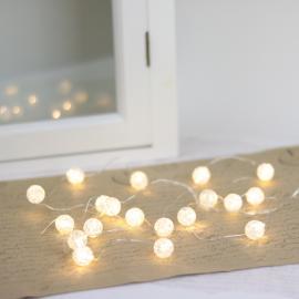 Batteridrevet LED lyskæde 20 st lys Pearl , hemmetshjarta.dk