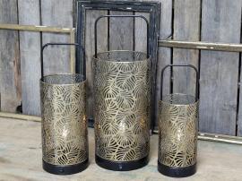 Lanterne m. mønster inkl pære & timer H40/Ø15 cm antique messing 1 st , hemmetshjarta.dk
