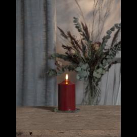 Batteridrevet Bloklys LED Flamme Rød 7,5x15cm , hemmetshjarta.dk