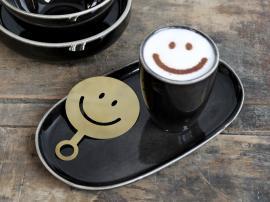 Uge 40 Kaffestencil Smiley L12,5/B8,5 cm messing , hemmetshjarta.dk
