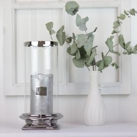 Lanterne med glas Lyx sølv 29,5 cm , hemmetshjarta.dk