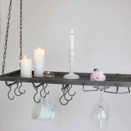 Hengende hylde med kroker 120 cm - antikgrå , hemmetshjarta.dk
