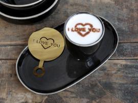 Uge 40 Kaffestencil I Love You L12,5/B8,5 cm messing , hemmetshjarta.dk