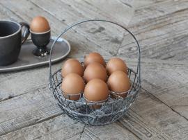Kurv til 7 æg H22/Ø18 cm antique zink , hemmetshjarta.dk