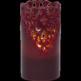 Batteridrevet Bloklys LED Clary Rød 8x15cm , hemmetshjarta.dk