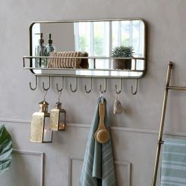 Spejl med hylde og 8 kroge 87 cm * , hemmetshjarta.dk
