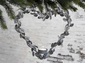 Uge 44 Krans hjerte til fyrfadslys m. ophæng H27/L27/B4,5 cm antique zink , hemmetshjarta.dk