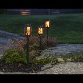 Solcellelampe stolpe Flame Mini 3-pack , hemmetshjarta.dk