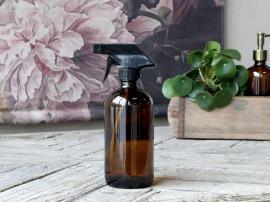 Flaske m. forstøver 480 ml. H21/Ø7,5 cm mocca , hemmetshjarta.dk