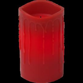 Batteridrevet Bloklys LED Drip Rød 7,5x12,5cm , hemmetshjarta.dk
