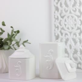 hvid Lilje krukker med låg 2-pack , hemmetshjarta.dk