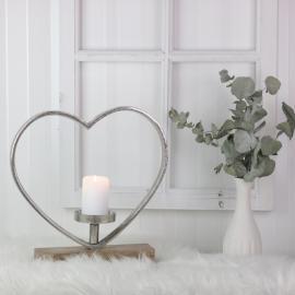 Stående Hjerte med Lysholder 35 cm , hemmetshjarta.dk