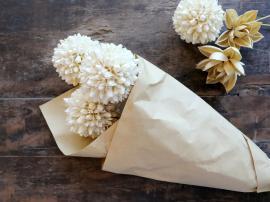 Fleur tørrede Snebold Blomster L60 cm creme , hemmetshjarta.dk